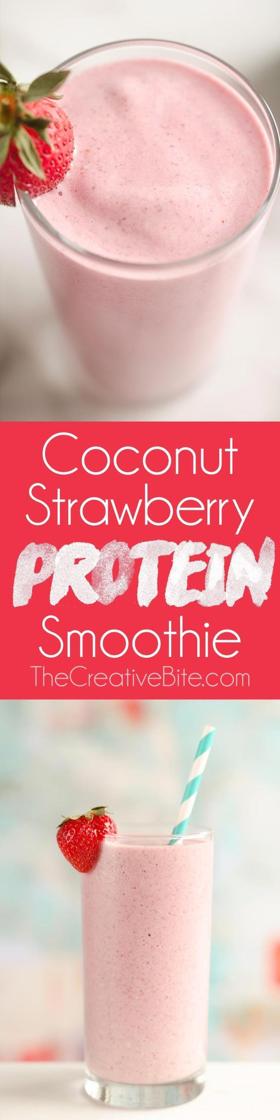 This Coconut Strawberry Protein Smoothie is a fresh and healthy breakfast or snack that will fill you up and satisfy your sweet tooth! Frozen strawberries are blended with coconut milk and a mixture of protein powder, chia seeds, and more for a refreshing beverage you will love. #Strawberry #Protein #Smoothie