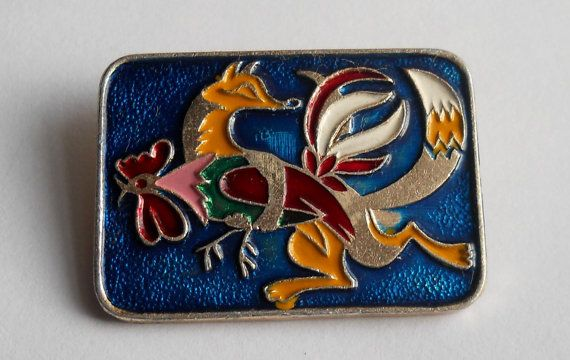 Fox with Cock Badge Cockerel Pin Vintage USSR Rare by LucyMarket
