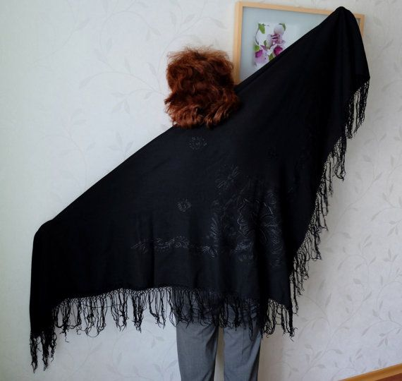 Black Shawl with Tassels huge antique black by MadeInTheUSSR