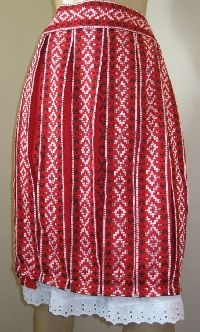 NEW handmade pleated Romanian traditional costume skirt - red. Available at www.greatblouses.com
