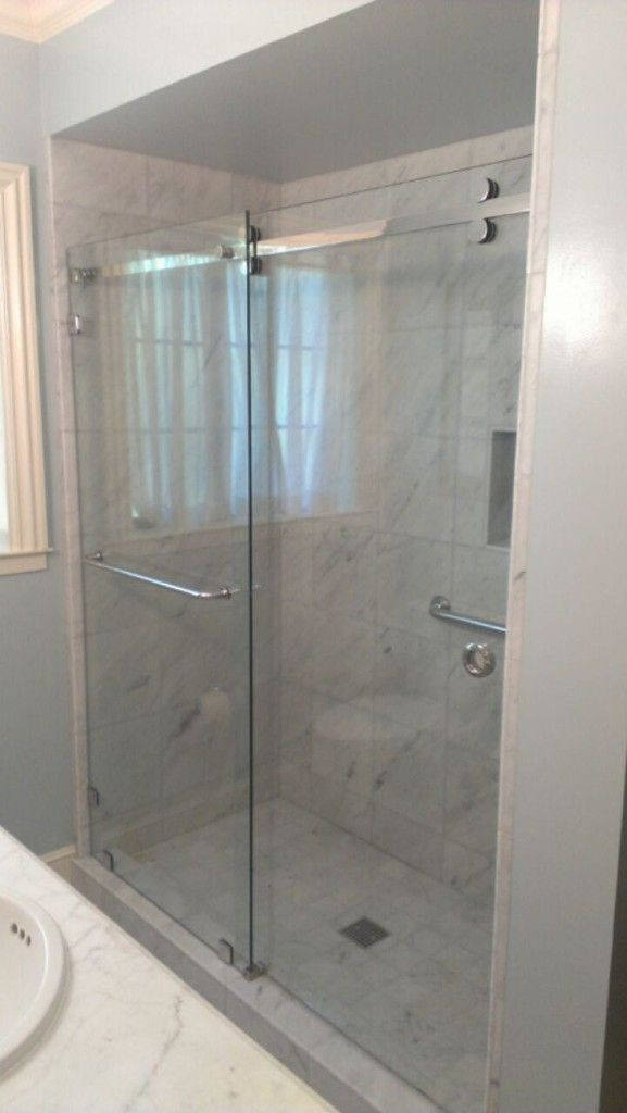 CRL's Serentiy Series Glass Shower Enclosure with 3/8″ Clear Tempered Glass - Clear glass not green...sliding door