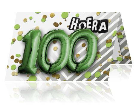 Wordt je samen 100 en vier je een feest, dan zou dit wel eens jullie trendy uitnodiging kunnen worden. Met gouden confetti en folie ballonnen. Nieuw, hip en vrolijk. Gaaf met bijpassende envelop.
