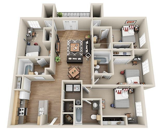 4 Bedroom Apartments Check More At Https Patantour Com 37732 4 Bedroom Apartments 4 Bedroom Apartments House Layout Plans 3d House Plans
