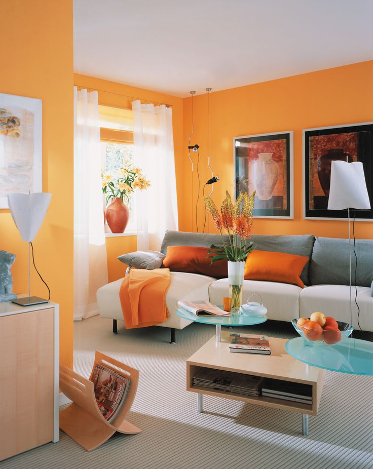 Burnt orange walls with neutral gold and a little bit of navy home decor living room orange - Orange walls living room ...