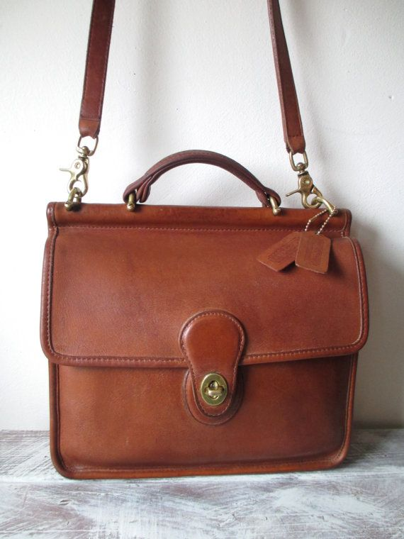 Vintage Coach Willis Leather Messenger Bag In British Tan Made United States 1980s