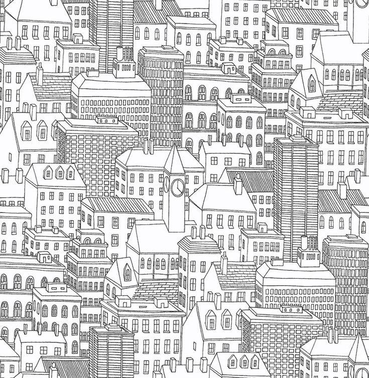 Metropolis Cityscape 5.5m L x 52cm W Scenic Roll Wallpaper