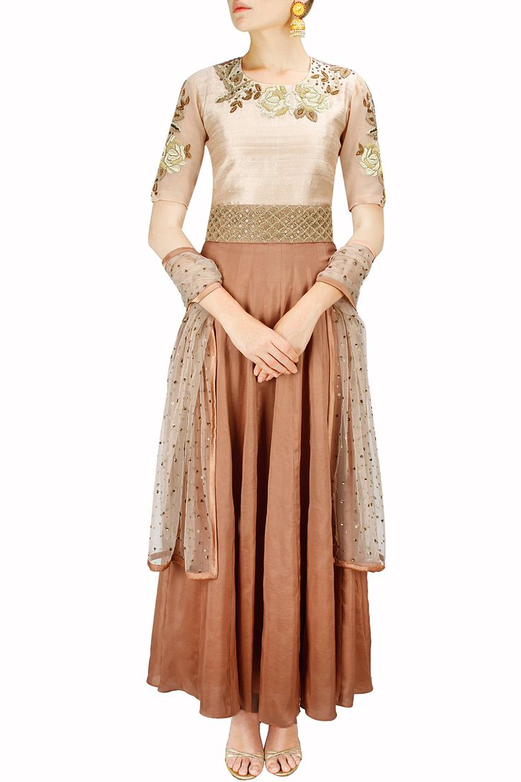 Peach and burnt orange rose embroidered anarkali set BY BHUMIKA SHARMA. Shop now at http://www.perniaspopupshop.com/