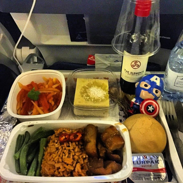 Dinner Menu in the sky from KLM : Rice with Chicken & saute vegetables -  Mango Salad & Green Tea Chiffon Cake and The Elements Red Wine. route from Jakarta to Kuala Lumpur. This is one of the best meals in the air. This photo was taken on the 14 Dec 2015.
