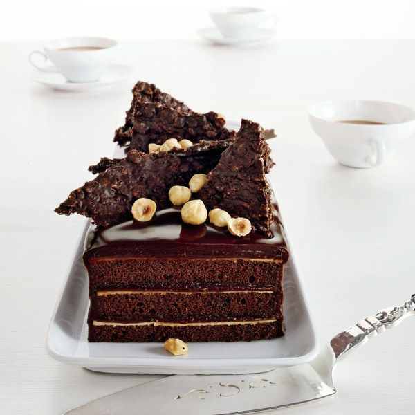 Chocolate Hazelnut Cake with Praline Crunch. It's best to make and assemble at least one day after making cake. WOW