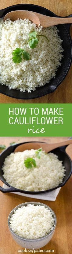 How to make cauliflower rice and stock your refrigerator or freezer with a ready-to-cook, 5-minute paleo side dish that will go with just about anything. {gluten-free, grain-free, paleo} ~ http://cookeatpaleo.com