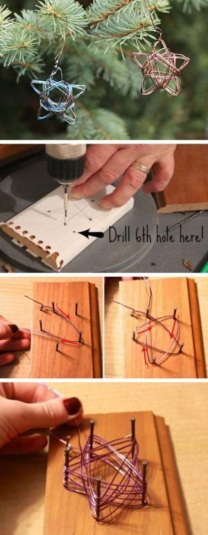 Handmade Star Wire Ornament   Click Pic for 22 DIY Christmas Decor Ideas on a Bu...