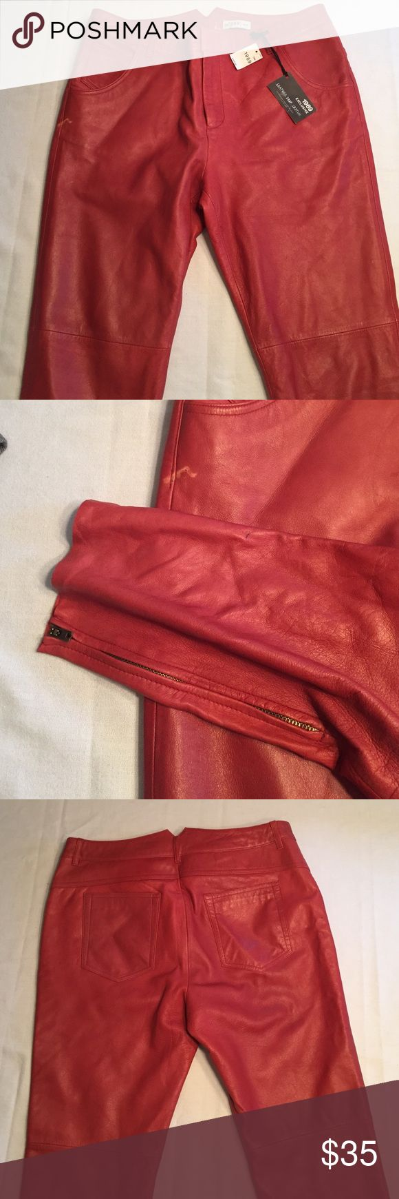 Red leather drop crotch jeans New with tags but have defects. Scratch in the leather on right side and a pen mark by ankles. See pictures. Smoke free and animal free. GAP Jeans Ankle & Cropped