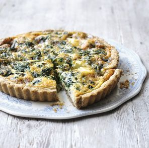 Stilton, spinach and new potato quiche with walnut pastry – great flavour combinations