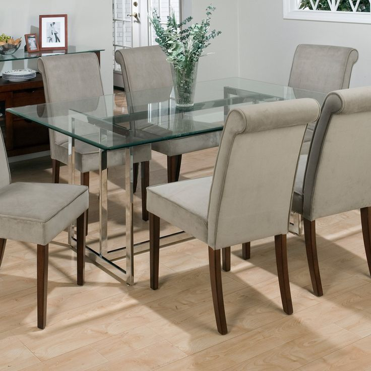 Bethel Rectanglar Glass Top Dining Table