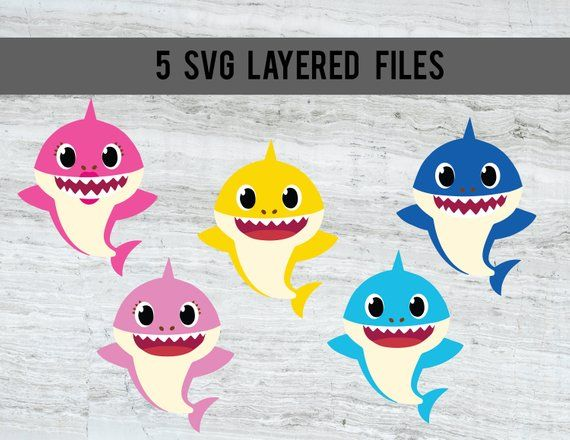 Baby Shark Svg Mommy Shark Daddy Shark Brother Shark Sister Shark Layered Files Baby Shark Shark Themed Birthday Party Shark Theme Birthday