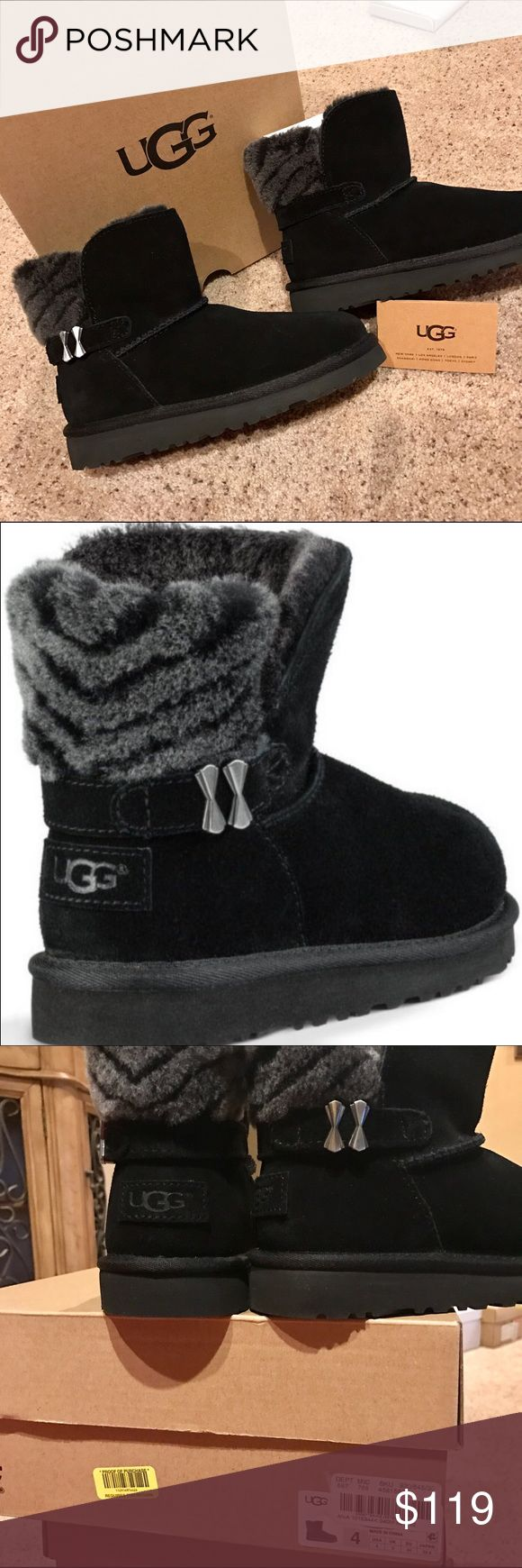 NEW UGG Analia Short Boots 4 Brand new UGG boots in girls size 4.  Comes in original UGG box with authenticity booklet.  Purchased locally can guarantee authenticity.  Analia boot has black suede leather uppers with grey and black striped wool/sheepskin interior.  Super warm.  Double bow buckle on sides. UGG Shoes Boots