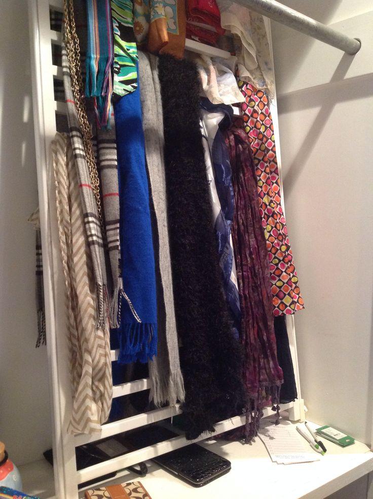 Reuse: crib rail as scarf organizer