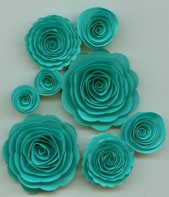 paper flowers - tiffany blue