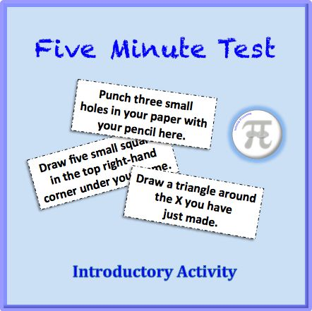 "Five Minute Test - Introductory Activity. The Five Minute Test is a new spin on the old ""did you follow the directions?"" test that is usually given to students. This is a great introductory activity for high school or middle school students on the first day of school."