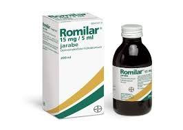ROMILAR. ANTITUSSIGEN. PA: Dextrometorfano  INDICACIONES: Tto. sintomático de formas improductivas de tos (irritativa, nerviosa).