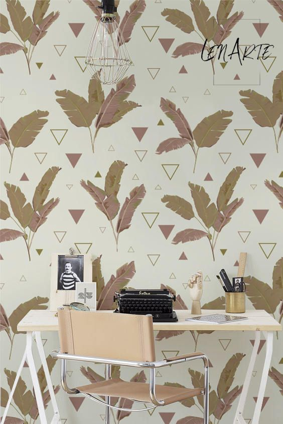 Palm triangles - geometric and floral wall decor. Mixed pattern on a peel&stick wallpaper for interior decor. #palm #triangle #walldecor #removable #palmtrees #leaves #nature #gold #soft #homedecor #decorideas #interiors #interiorstyling #interiordesignideas #decorating #wallpaper #wall #moderndecor #moderninteriors