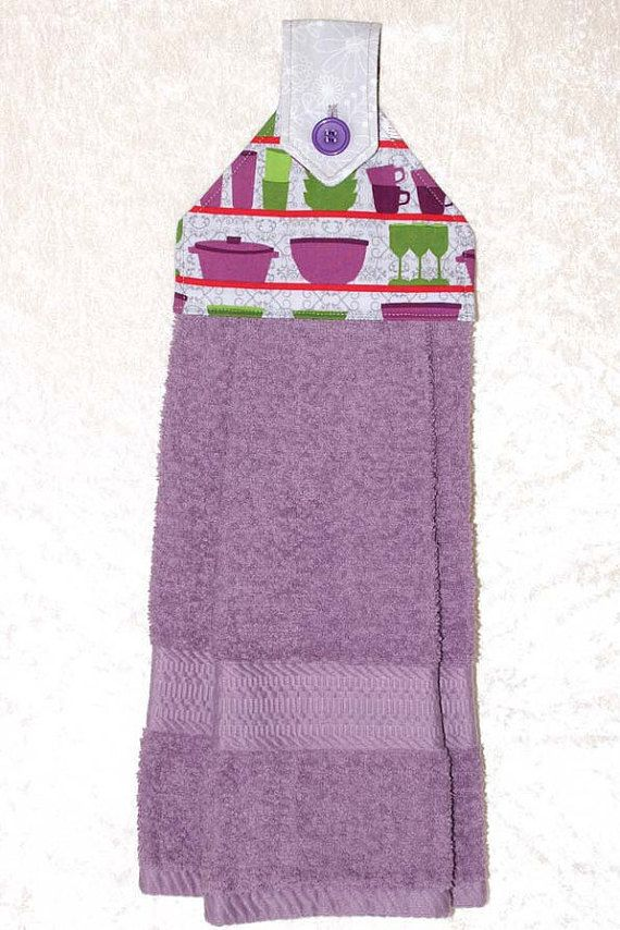 Kitchen Hand Towel • Hanging Towel • Purple Tea Towel • Vintage Kitchenware • Gray • Green • Purple • Retro Kitchen • Kitchen Gifts