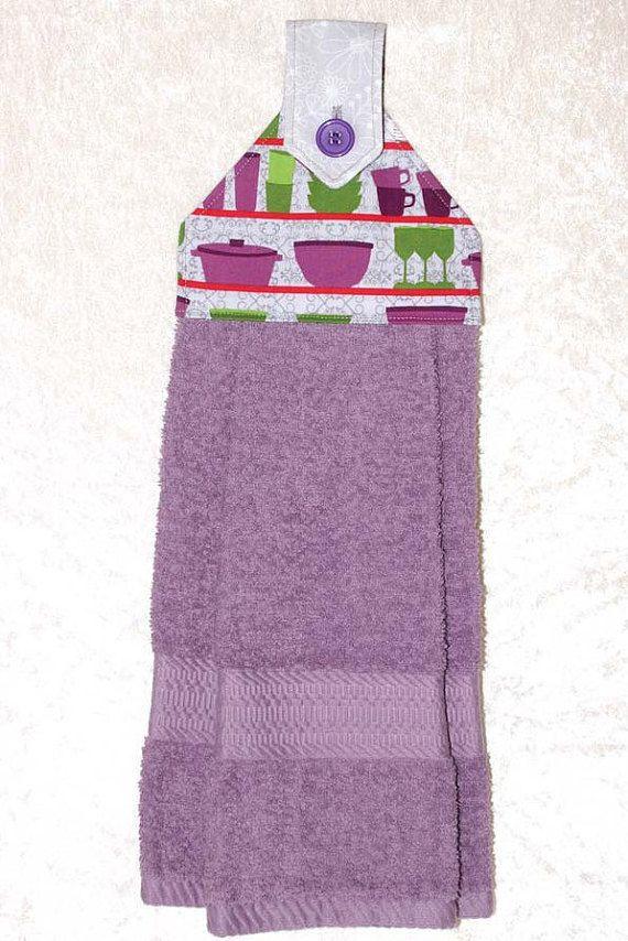 Kitchen Hand Towel • Hanging Towel • Purple Tea Towel • Vintage Kitchenware • Gray • Green • Purple • Retro Kitchen • Kitchen Gifts