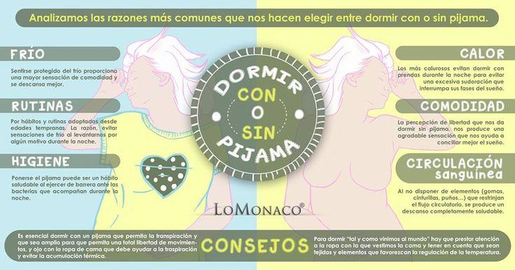 En esta infografía de Lo Monaco, consejos para un descanso saludable. ¿Dormir con o sin pijama?