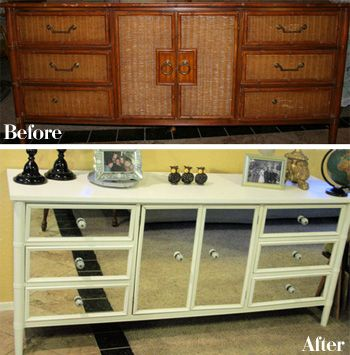 •❈• Love the mirror fronts on this dresser! Read the comments to find out how she affixed the mirrors. Love how this looks!