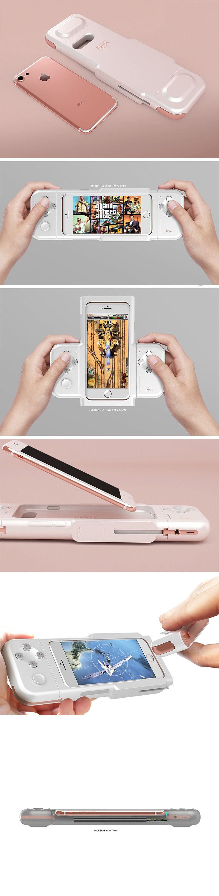 The Nintendo Cross transforms your iOS gaming experience with a full set of console-style controls. This mobile gaming powerhouse feature directional controls, 4 action buttons and a larger trigger button. At the heart of the design, however, is an innova