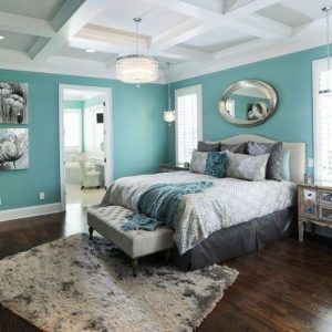 Grey White And Turquoise Bedroom