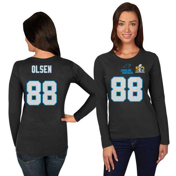 Greg Olsen Carolina Panthers Majestic Women's Super Bowl 50 Bound Fair Catch Name & Number Long Sleeve T-Shirt - Black - $26.99