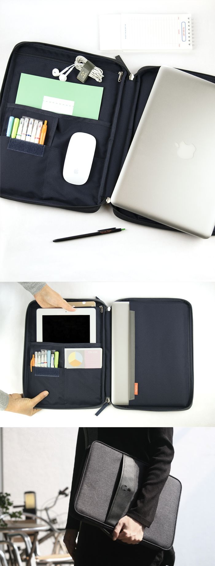 """Get ready for the MVP of Organization! The Better Together 13"""" Laptop Pouch v2 makes it sleek & simple. The right side has a pocket for your laptop & the other side has a zippered pocket for chargers, a large open pocket for a tablet, 2 small pockets for pens & earbuds. That's not all, there is also an open pocket on the front for your papers as well as a zippered pocket in the back. The handle allows easy transport & the layers of cushioning ensure flawless protection. See more at…"""