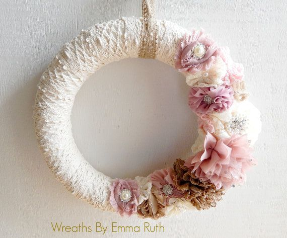 Wrapped Lace Wreath Shabby Chic with flower, pearl and bling embellishments as well as a pearl cross