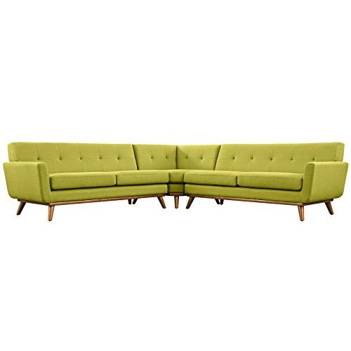 Modern Contemporary L-Shaped Sectional Sofa, Green, Fabri...