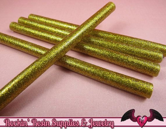 5 Gold Glitter Mini Hot GLUE STICKS / Deco Sauce / Fake Icing / Nail Art Stick / Faux Wax Seals USA Shipping on Etsy, £2.41