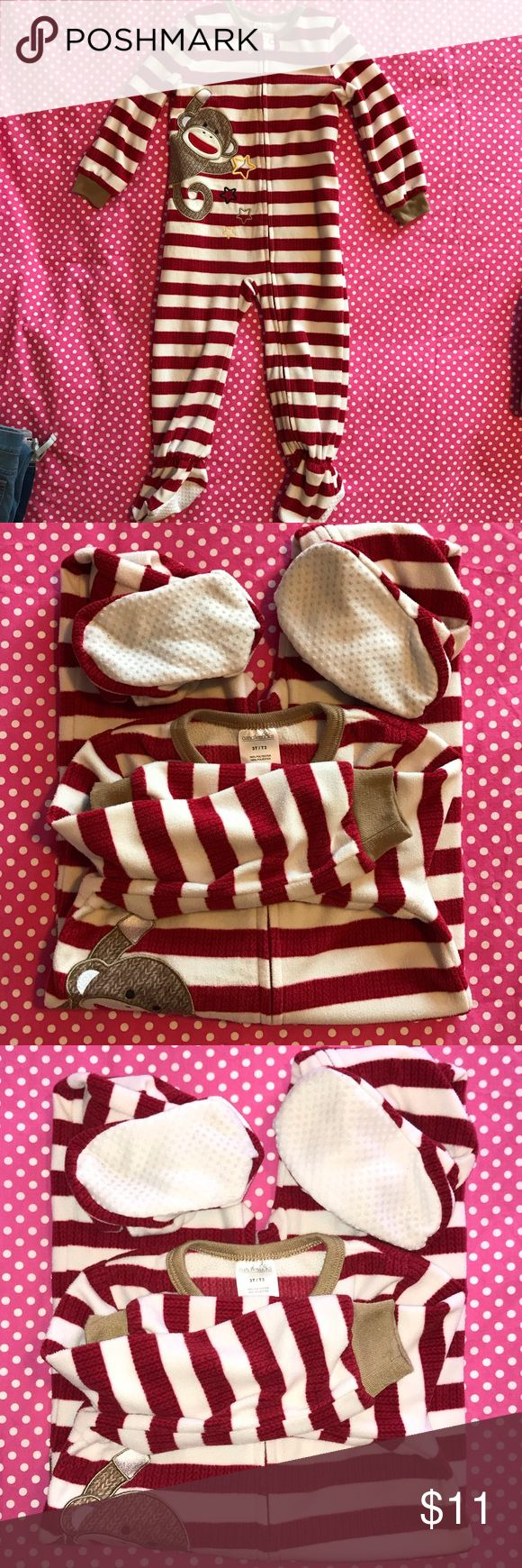 Sock Monkey PJ's Very soft, super cute, striped sock monkey PJ onesie. Never worn, but has been washed. Pajamas Pajama Sets