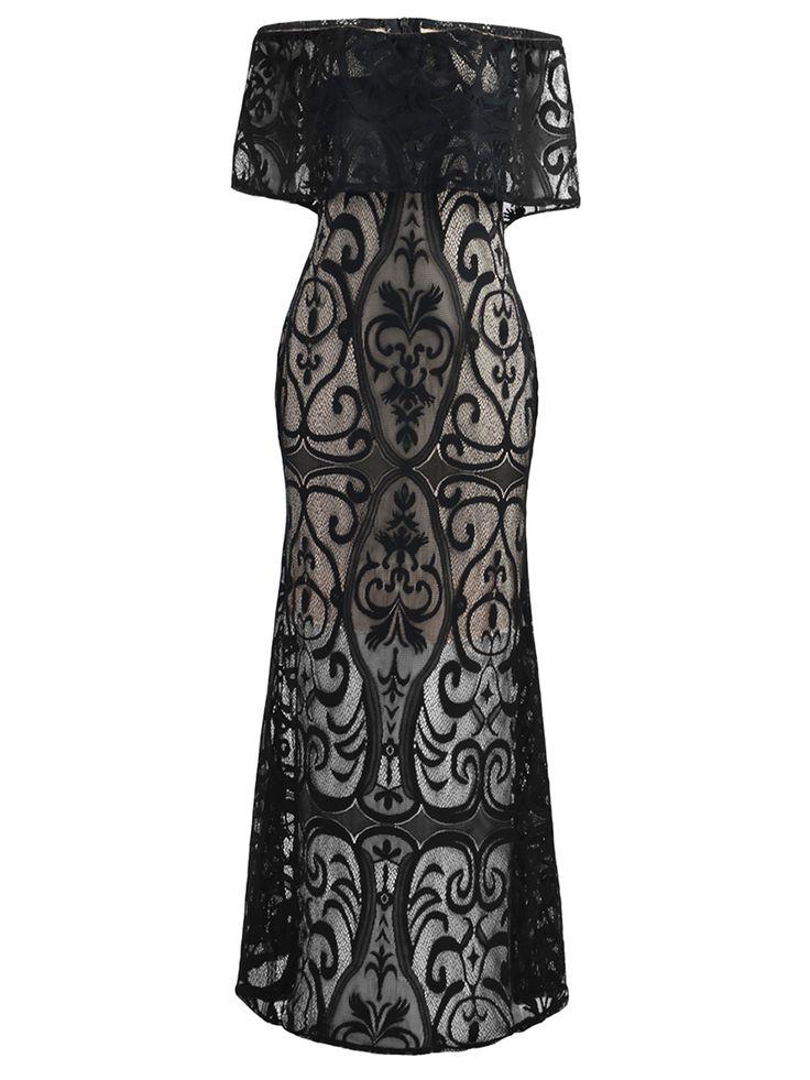 #Off Shoulder Flounce Hollow Out Plain Lace Maxi #Dress