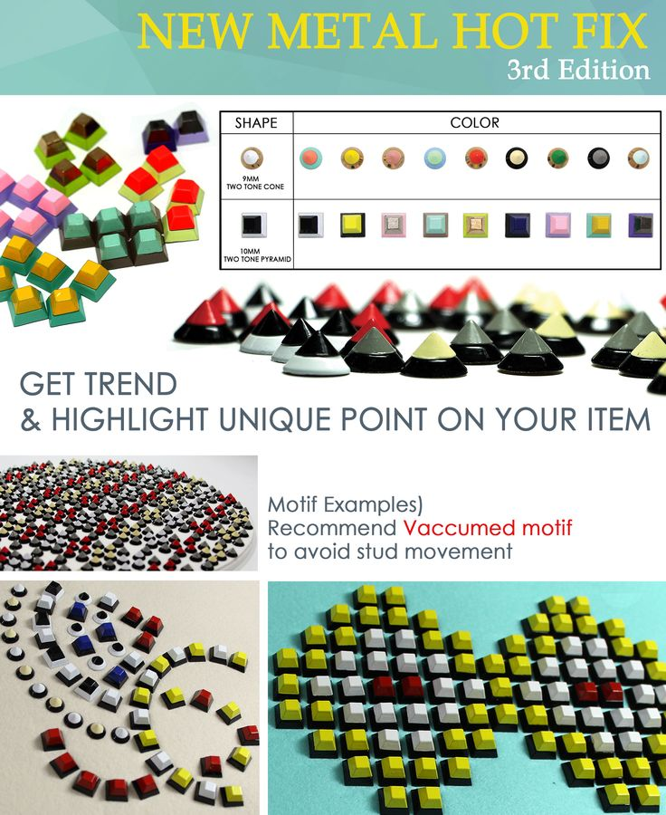 New Product - New Metal Hot Fix Various color combinations are availible with two-tone top and bottom. Vaccumm motif is required.