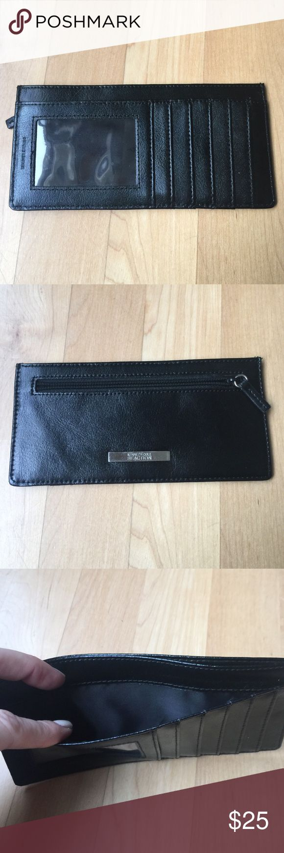 Kenneth Cole reaction card holder. Kenneth Cole reaction card holder. Black. Zipper pouch for coin. 5 card slots plus Id  slot. Pouch for cash. Excellent  condition. No trades Kenneth Cole Reaction Accessories Key & Card Holders