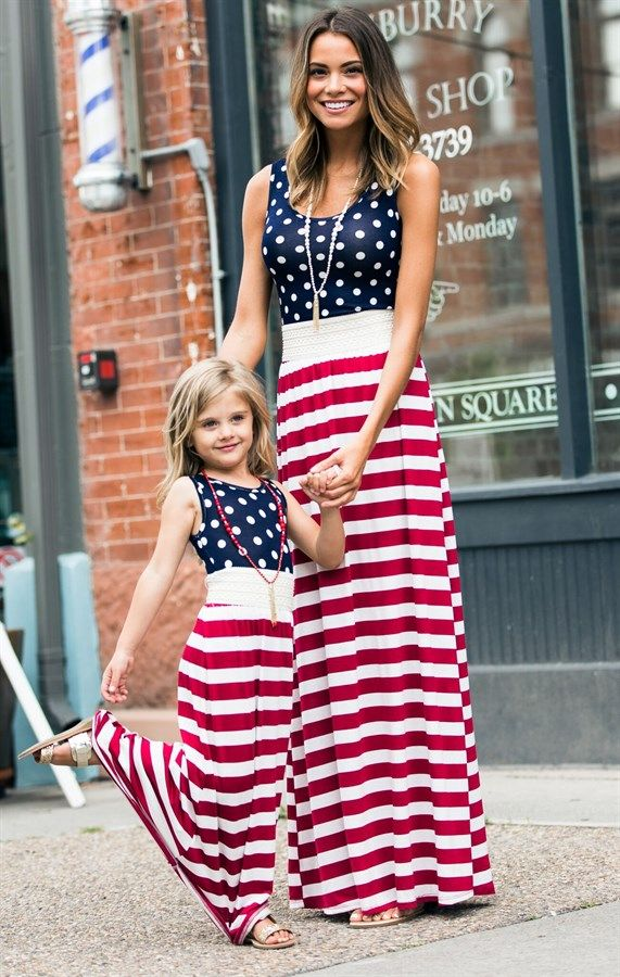 ​Show off your Red, White & Blue this July with our Fourth of July Maxi Dress! This darling dress features navy/white polka dots with bold red/white stripes! The elastic waist band creates a cute fit!