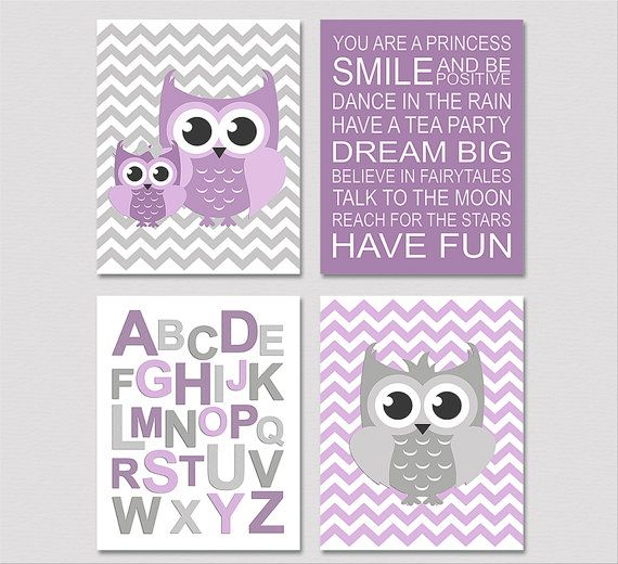 Purple and grey nursery Art Print Set  5x7  Kids by SednaPrints, $32.00