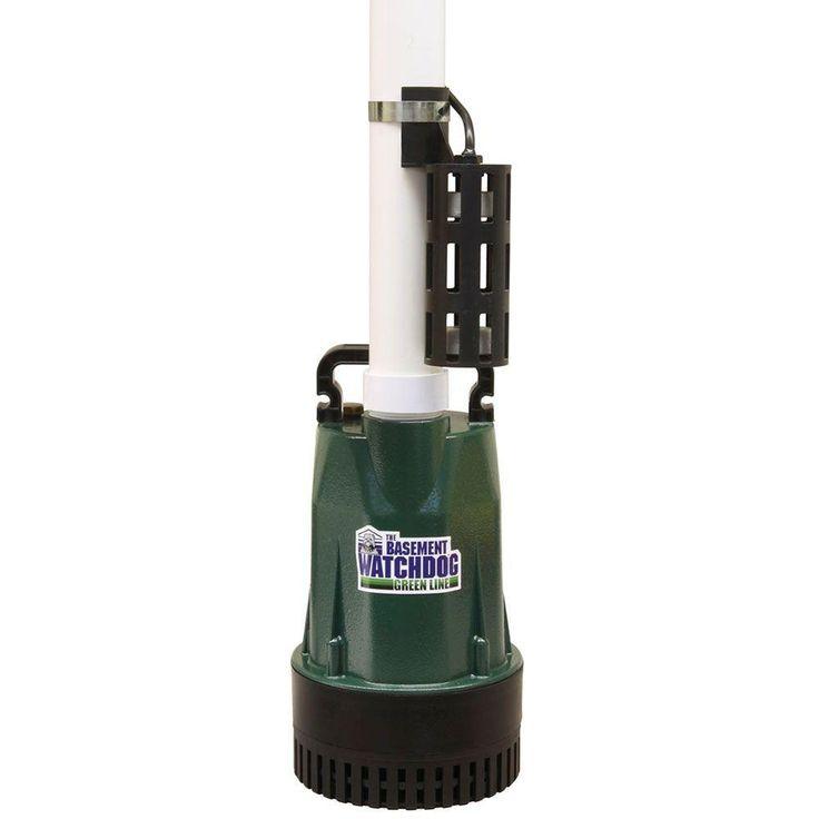 Basement Watchdog BW1050 Submersible Sump Pump, 1/2 HP, Cast Iron, Silver stainless steel