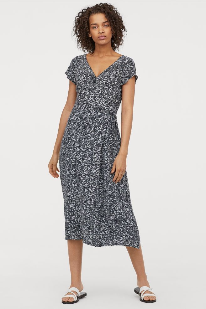 67526e0a1636 H&M Calf-length Wrap Dress - Blue in 2019 | My Would Be Style | Calf ...