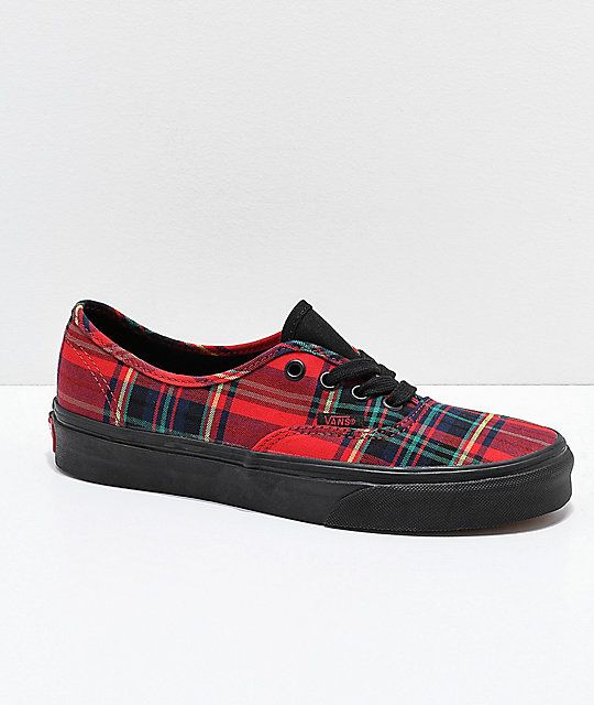 e19bd0fced32 Vans Authentic Red Plaid Mix Skate Shoes in 2019