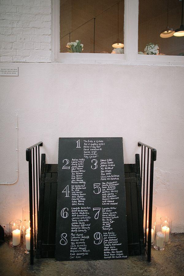 Chalkboard table plan. Photography by tomravenshear.com