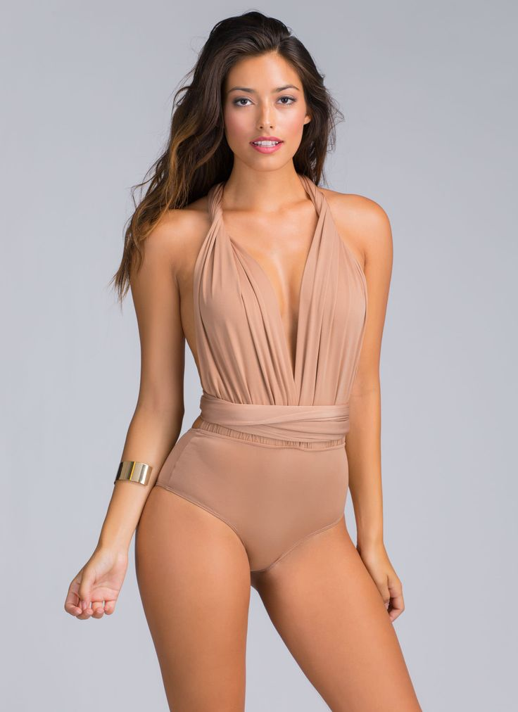 The design of this convertible bodysuit will come from the top down -- your head! And you can wear it however you'd like.
