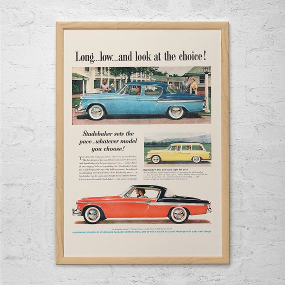 VINTAGE STUDEBAKER CAR Ad - Rockabilly Car Poster Garage Poster Mechanic Car Wall Art Car Lover Retro Studebaker Car Ad Mad Men Car Poster