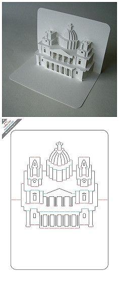 【立体卡片】圣保罗教堂 Klappkarte mit Schnittmuster