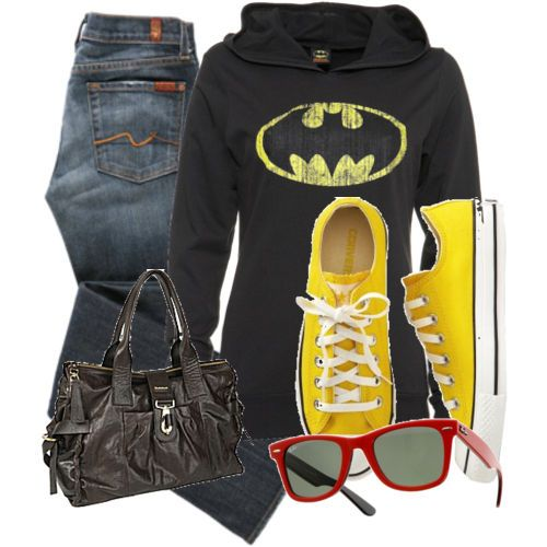 definitely my daily style: Shoes, Disney Outfits, Sweaters, Batman Outfits, The Batman, Batman Hoodie, Sweatshirts, Yellow Converse, Sunglasses